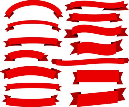 pancarta: Conjunto de banderas rojas y cintas. Ilustraci�n del vector. Vectores