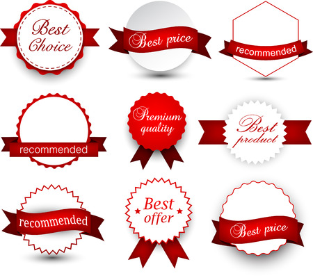 star award: Set of red ribbons and award badges. Vector illustration.