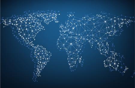 komunikace: Globální síť mesh. Sociální komunikace pozadí. Mapa země. Vektorové ilustrace.