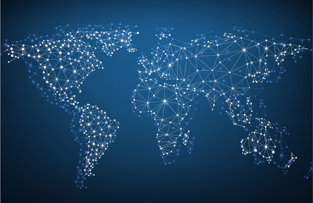 mapa mundi: Malla de la red global. Fondo de comunicaci�n social. Mapa de la tierra. Ilustraci�n del vector. Vectores