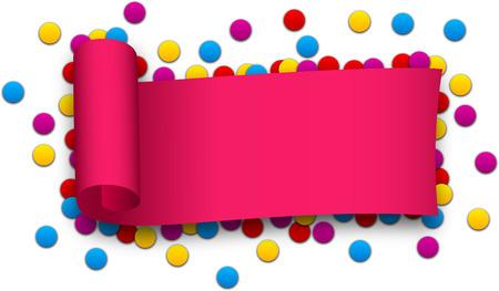 curled: Magenta curled ribbon over confetti. Vector illustration. Illustration