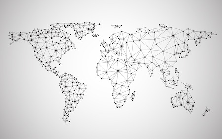 network and media: Global network mesh. Social communications background. Earth map. Vector illustration. Illustration