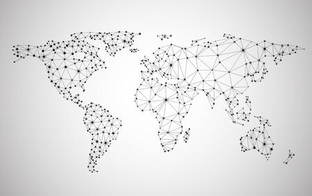 mappa: Maglie della rete globale. Sfondo Comunicazioni Sociali. Mappa della Terra. Illustrazione vettoriale. Vettoriali