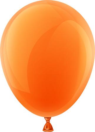 Orange realistic celebration balloon. Vector illustration. Vector