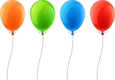 Balloon: Đặt bóng bay kỷ niệm đầy màu sắc. Vector hình minh họa.