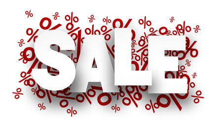 Sale paper note background over percent signs. Promotion coupon. Vector illustration.