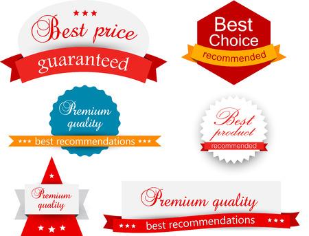 Set of red, orange and blue award badges. Vector illustration. Çizim