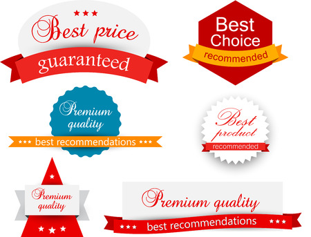 abstract banners: Set of red, orange and blue award badges. Vector illustration. Illustration