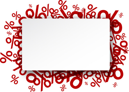 White paper note background over percent signs. Promotion coupon. Vector illustration. Иллюстрация