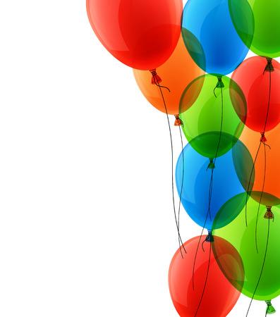 Celebración de fondo colorido con globos y confeti. Ilustración del vector.