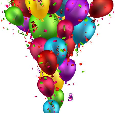 celebra: Celebración de fondo con globos de colores y confeti. Ilustración del vector.