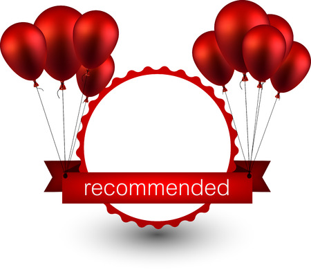 red balloons: Recommended ribbon background with red balloons. Vector illustration.