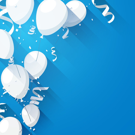 Celebration blue background with flat balloons and confetti. Vector illustration.