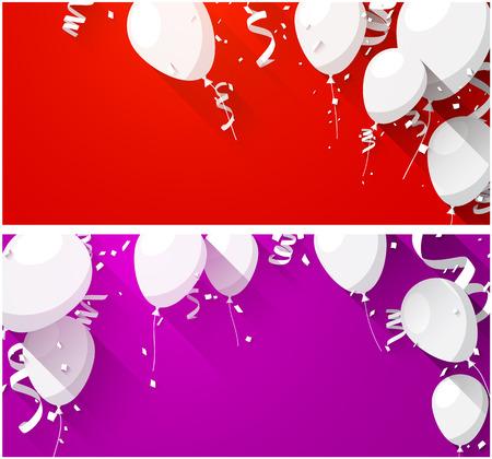 Fondos de fiesta con globos y confeti planas. Ilustración del vector.