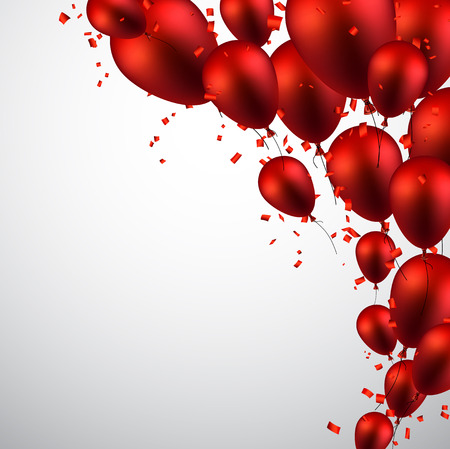 red balloons: Celebration background with red balloons and confetti. Vector illustration.
