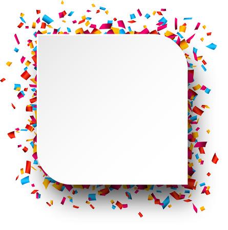 celebra: Colorido fondo de la celebración. Burbuja de papel del discurso con confeti. Ilustración del vector.
