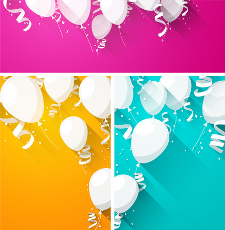 anniversary celebration: Celebration backgrounds with flat balloons and confetti. Vector illustration.