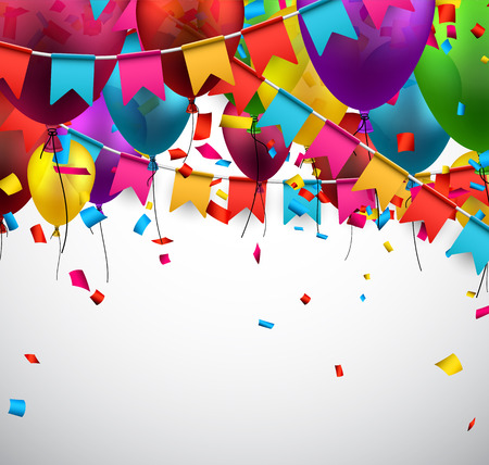 multicolored background: Celebrate background. Party flags with confetti. Realistic balloons. Vector illustration.