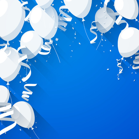 confetti background: Celebration blue background with flat balloons and confetti. Vector illustration.