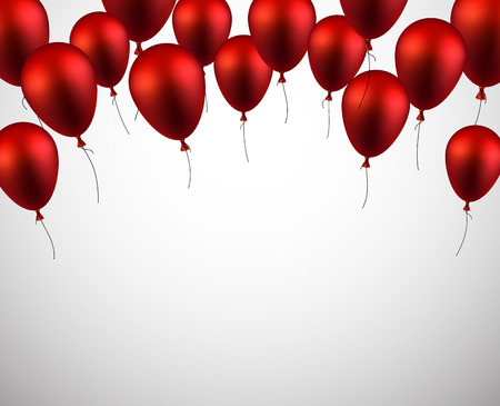 red happiness: Celebration background with red balloons and confetti. Vector illustration.