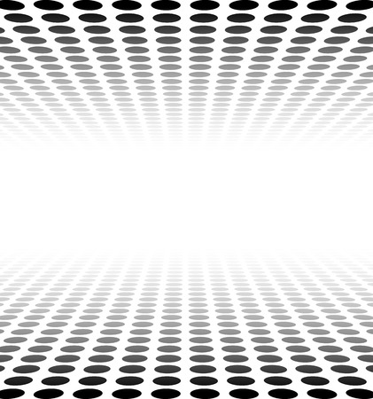 doted: Perspective black and white grid. Surface with circles. Vector illustration.