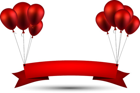 Celebration ribbon background with red balloons. Vector illustration. Çizim