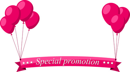 pink balloons: Special promotion flat ribbon with pink balloons. Vector illustration.