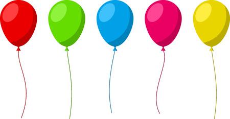 globos de cumpleaños: Conjunto de planos celebración globos. Ilustración del vector.