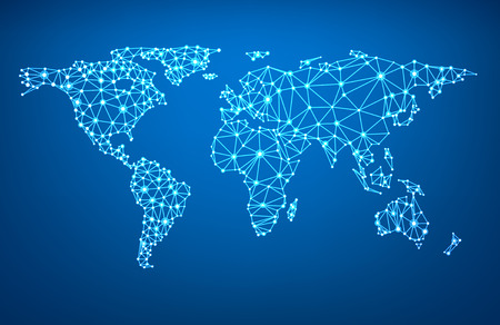 Global network mesh. Social communications background. Earth map. Vector illustration.