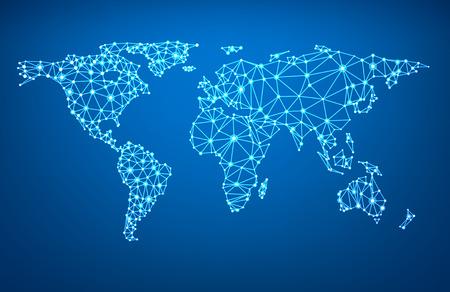 Global network mesh. Social communications background. Earth map. Vector illustration. Vettoriali
