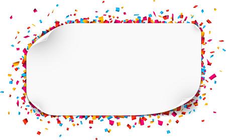 confetti: Colorful celebration background. Paper speech bubble with confetti. Vector Illustration. Illustration