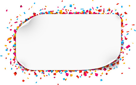 Colorful celebration background. Paper speech bubble with confetti. Vector Illustration. Stock Illustratie