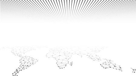 グローバル ネットワーク網。社会的なコミュニケーションの背景。地球地図。ベクトルの図。