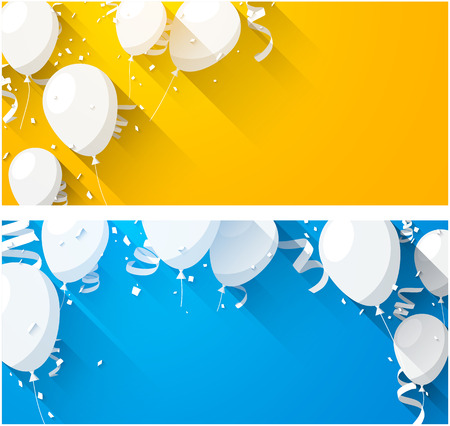 balloons: Celebration backgrounds with flat balloons and confetti. Vector illustration.
