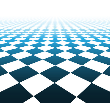 tile flooring: Perspective blue and white grid. Checkered surface. Vector illustration. Illustration