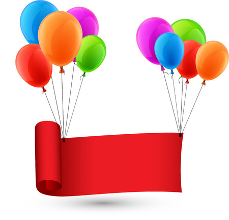 red balloons: Red ribbon background with balloons. Vector illustration.