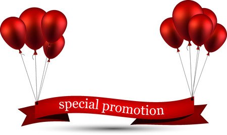 Special promotion ribbon background with red balloons. Vector illustration.