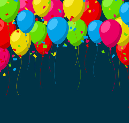 Celebration background with flat balloons and confetti. Vector illustration. Vector