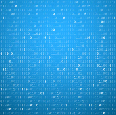 binary matrix: Binary blue background with digits. Vector illustration.