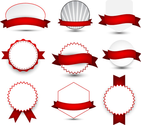 recommended: Set of red ribbons and award badges. Vector illustration.