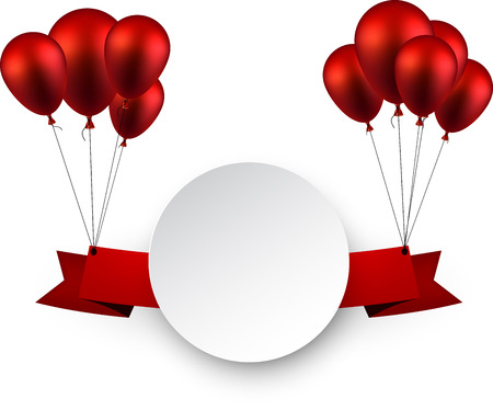 red balloons: Celebration ribbon background with red balloons. Vector illustration. Illustration