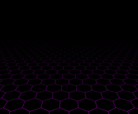grid: Perspective grid hexagonal dark surface. Vector illustration.