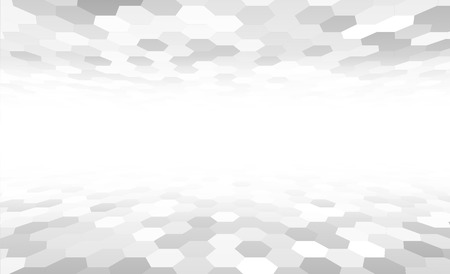 perspective: Perspective grid hexagonal surface. Vector illustration.