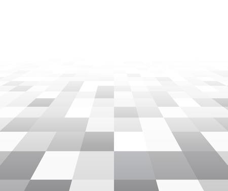 グレーと白のグリッドの視点。市松模様の表面。ベクトルの図。
