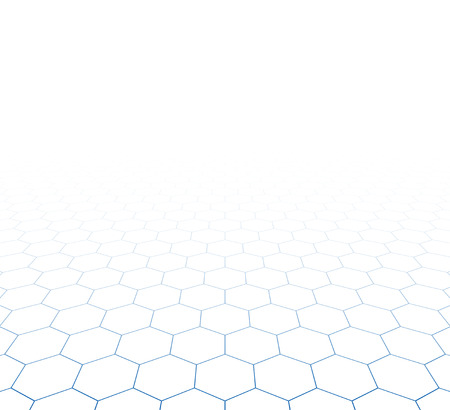 perspective grid: Perspective grid hexagonal surface. Vector illustration.