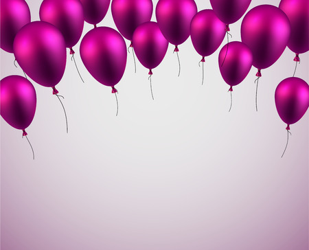 celebration background: Celebration background with purple balloons and confetti. Vector illustration.