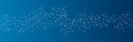 ソーシャル ネットワークの青いメッシュ。バック グラウンド通信多角形。ベクトルの図。