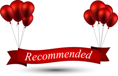 recommended: Recommended ribbon background with red balloons. Vector illustration.
