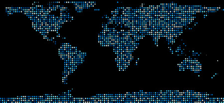 international business: World map composed of blue dots. Vector illustration.