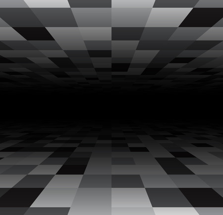 perspective grid: Perspective dark grid. Checkered surface. Vector illustration.
